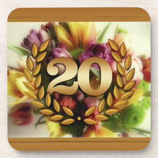 20 year anniversary floral illustration coasters