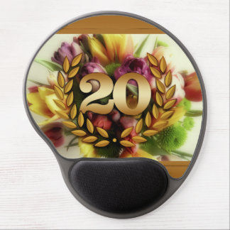 20 year anniversary floral illustration gel mouse pad