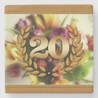 20 year anniversary floral illustration stone coaster