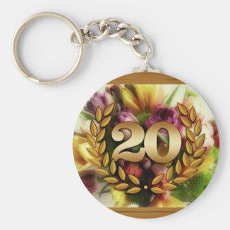 20 year anniversary floral illustration keychain