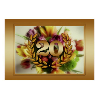 20 year anniversary floral illustration poster