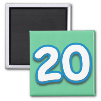 20 Year Birthday or Anniversary - Add Text 2 Inch Square Magnet