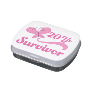 20 Year Breast Cancer Survivor Pink Butterfly Candy Tin