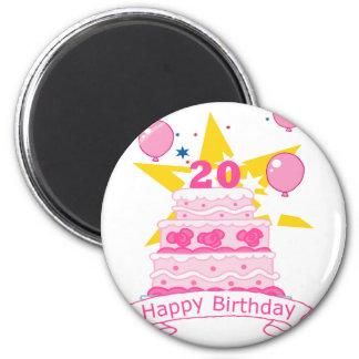 20 Year Old Birthday Cake 2 Inch Round Magnet