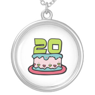 20 Year Old Birthday Cake Silver Plated Necklace