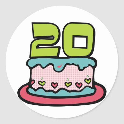 20 Year Old Birthday Cake Stickers by Birthday_Bash
