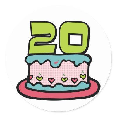 20 Year Old Birthday Cake Stickers by Birthday_Bash