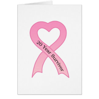 20 Year Survivor Pink Ribbon Greeting Card