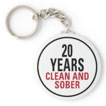 20 Years Clean and Sober Keychain
