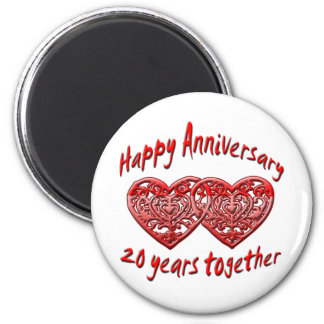 20 Years Together 2 Inch Round Magnet