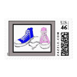 20 zapatos rosados/sellos azules del boda