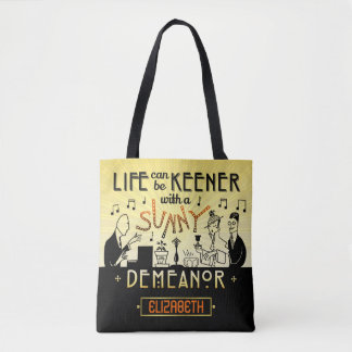 20s Retro Art Deco Sunny Demeanor Custom Name Tote Bag