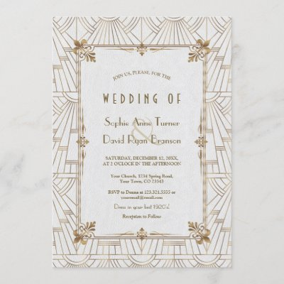 20s Royal Fleur-de-Lis Art Deco Gold White Wedding Invitation