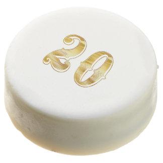 20th Anniversary 20 Birthday Gold White Cookie