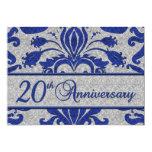 "20th Anniversary Business Announcement Blue 5"" X 7"" Invitation Card"