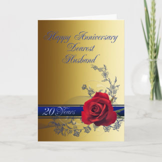 20th Anniversary card for husband with a red rose