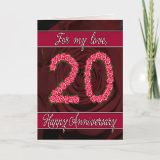 20th anniversary card with roses and leaves