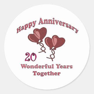20th. Anniversary Classic Round Sticker