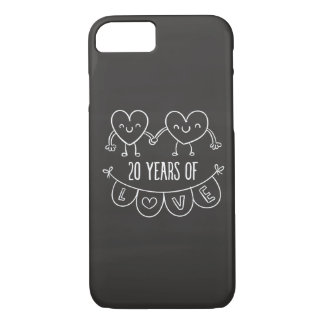 20th Anniversary Gift Chalk Hearts iPhone 8/7 Case