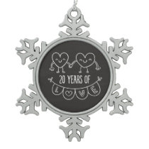 20th Anniversary Gift Chalk Hearts Snowflake Pewter Christmas Ornament