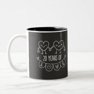20th Anniversary Gift Chalk Hearts Two-Tone Coffee Mug