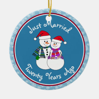 20th Anniversary Gift Fun Snow Couple Christmas Ceramic Ornament