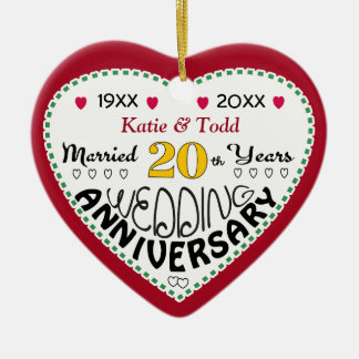 20th Anniversary Gift Heart Shaped Christmas Ceramic Ornament