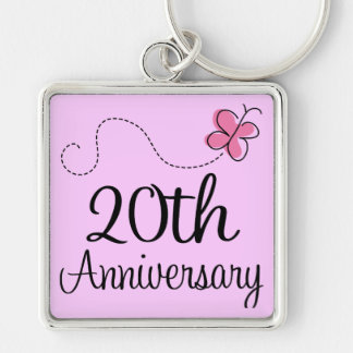 20th Anniversary Gift Silverplated Key Holder Keychain