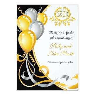20th Anniversary Gold & Silver Birthday Invitation