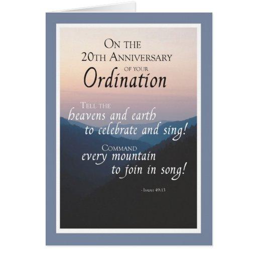 20th Anniversary of Ordination Congratulations Card