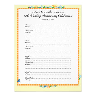 20th Anniversary Party Guest Book Sign-In Page