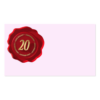 20th anniversary red wax seal business card