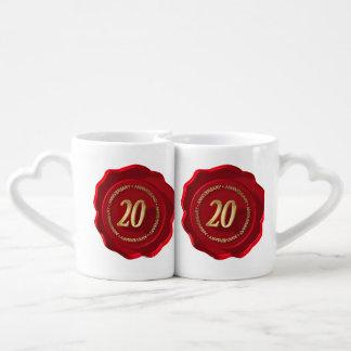 20th anniversary red wax seal lovers mugs