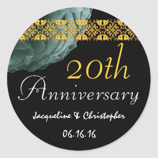 20th Anniversary TEAL & GOLD Rose Sticker