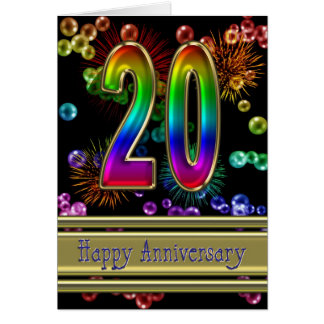 20th anniversary with fireworks and bubbles card