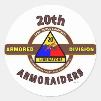 "20TH ARMORED DIVISION ""ARMORAIDERS"" CLASSIC ROUND STICKER"