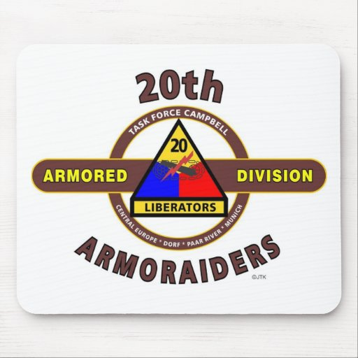 "20TH ARMORED DIVISION ""ARMORAIDERS"" MOUSE PAD"