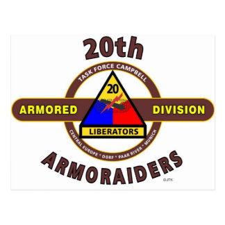 "20TH ARMORED DIVISION ""ARMORAIDERS"" POSTCARD"