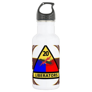"""20TH ARMORED DIVISION """"ARMORAIDERS"""" STAINLESS STEEL WATER BOTTLE"""