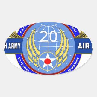 "20TH ARMY AIR FORCE ""ARMY AIR CORPS"" WW II OVAL STICKER"