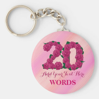 20th birthday 20 pink rose floral template keychain