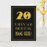 "[ Thumbnail: 20th Birthday ~ Art Deco Inspired Look ""20"" & Name Card ]"