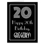 "[ Thumbnail: 20th Birthday — Art Deco Inspired Look ""20"" + Name Card ]"