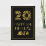 "[ Thumbnail: 20th Birthday: Art Deco Inspired Look ""20"" & Name Card ]"