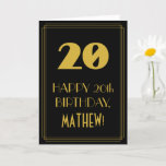 "[ Thumbnail: 20th Birthday – Art Deco Inspired Look ""20"" & Name Card ]"