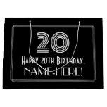 "[ Thumbnail: 20th Birthday — Art Deco Inspired Look ""20"" & Name Gift Bag ]"