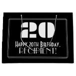 "[ Thumbnail: 20th Birthday ~ Art Deco Inspired Look ""20"" + Name Gift Bag ]"