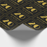 """[ Thumbnail: 20th Birthday ~ Art Deco Inspired Look """"20"""", Name Wrapping Paper ]"""