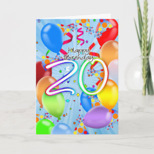 With Balloons 20th Birthday Cards