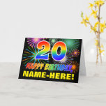 [ Thumbnail: 20th Birthday: Bold, Fun, Fireworks, Rainbow 20 Card ]